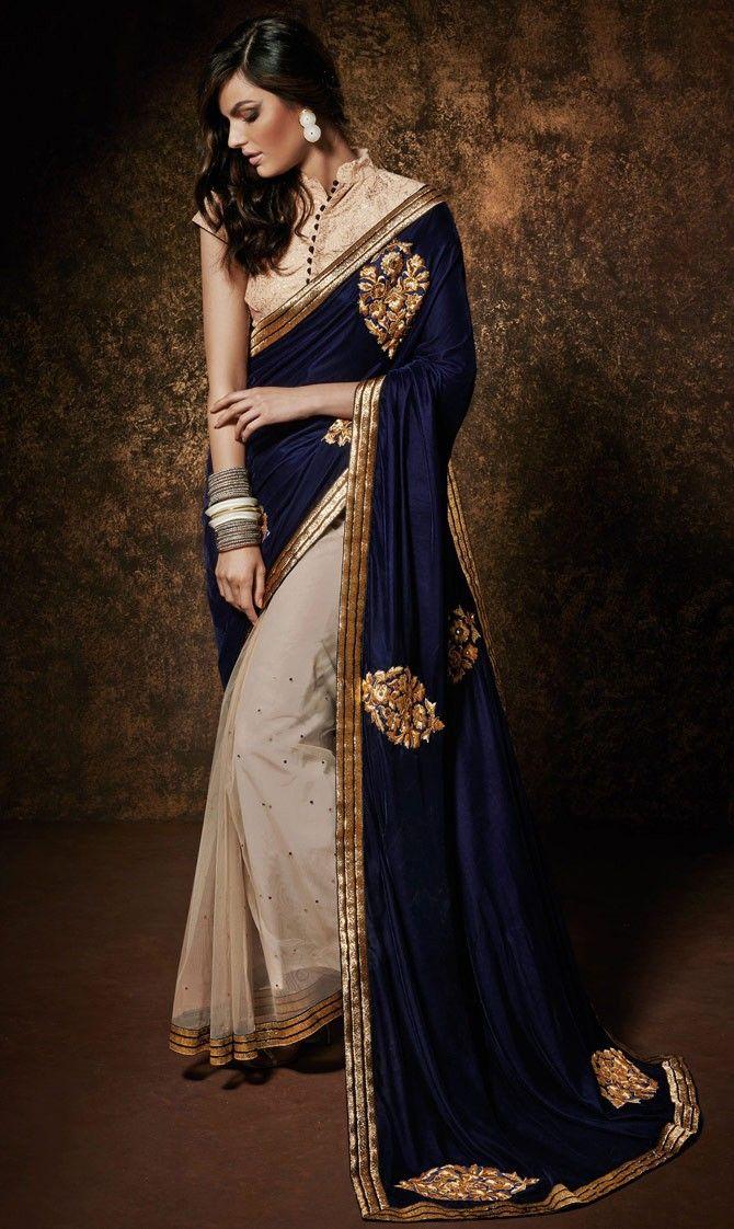 2ff81701ce Beige #Net #Party-Wear-Saree with #Designer #Pallu | Party Wear ...