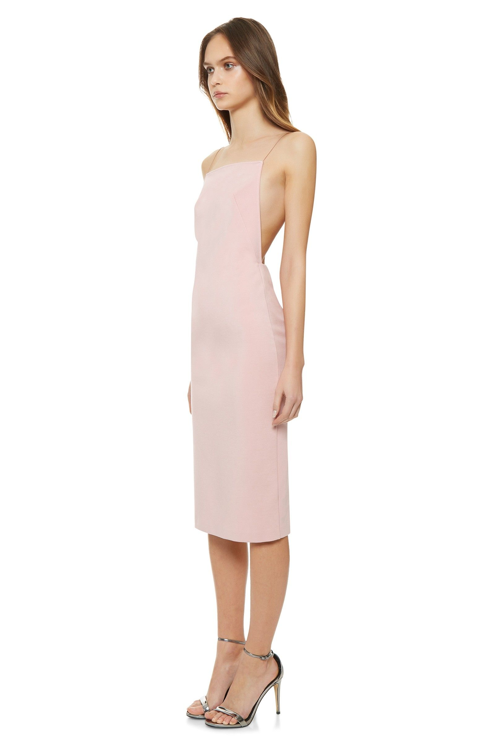 2a7def2a94db Image 1 of Cartney Backless Midi Dress with Shoestring Straps · Pale Pink ·  AQ AQ