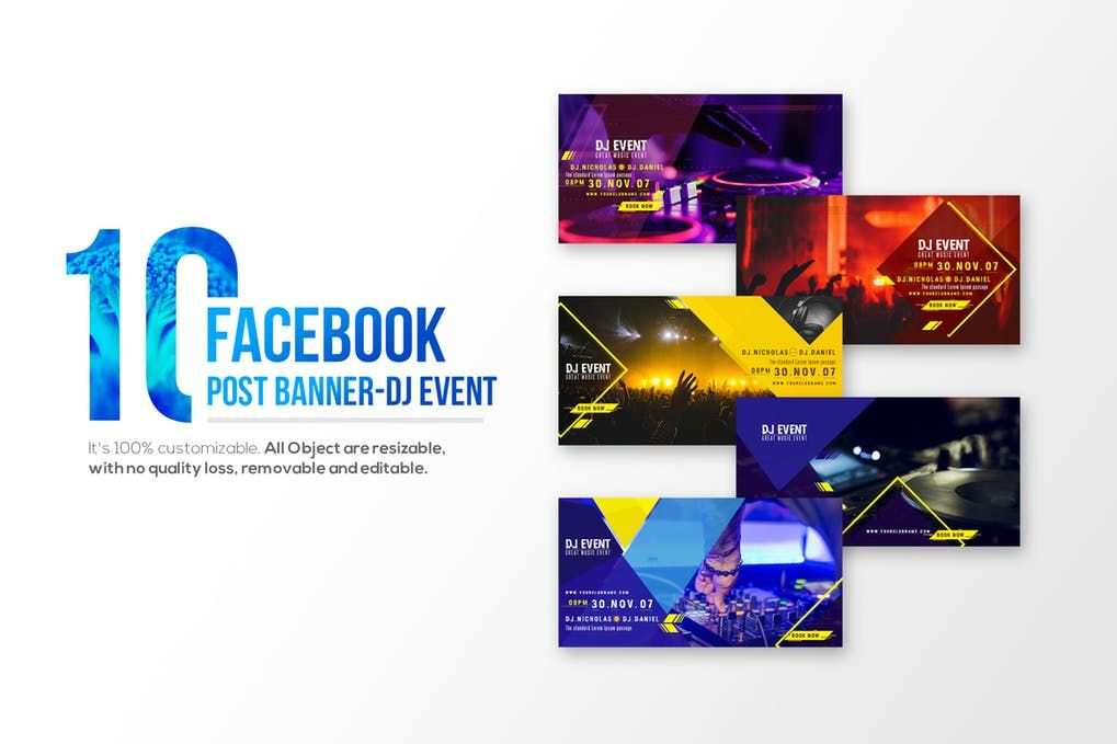 10 Facebook Post Banners Dj Event By Wutip On Facebook Post Design Facebook Cover Design Facebook Event
