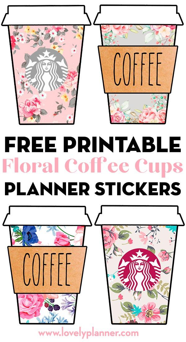 Free Printable Floral Starbucks Coffee Cups Planner Stickers #coffeecups