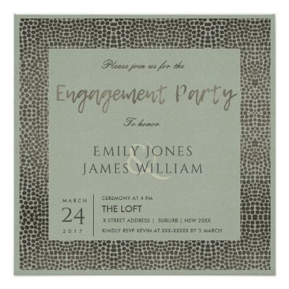 GLAMOROUS COPPER SILVER DOTS MOSAIC ENGAGEMENT CARD - formal - formal invitation style