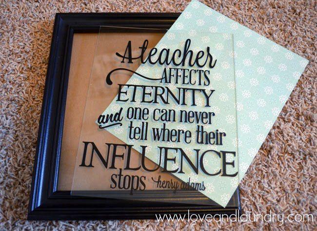 Easy Teacher Appreciation Framed Gift Idea A Silhouette