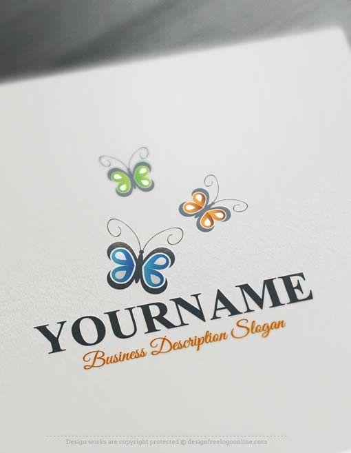 Free Butterfly Logo Maker Online Butterflies Logo Design Butterfly Logo Online Logo Design Logo Design Free Templates