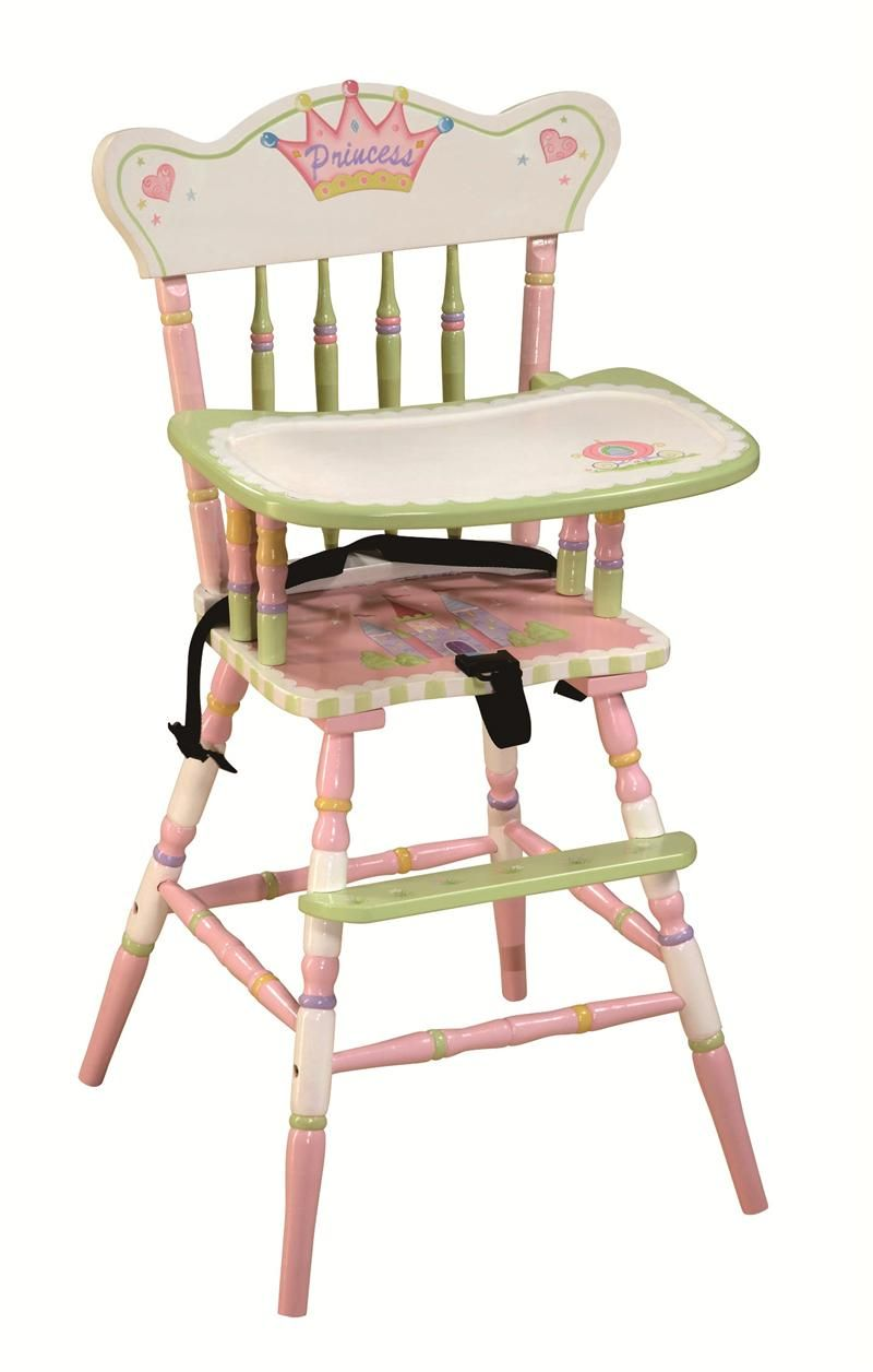 Painted wooden high chair - Painted Wooden High Chair Princess And Frog Hand Painted High Chair Monstermarketplace Com
