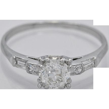 Platinum Art Deco .60ct. Diamond Engagement Ring - J33958 - Platinum Art Deco .60ct. Diamond Engagement Ring - J33958