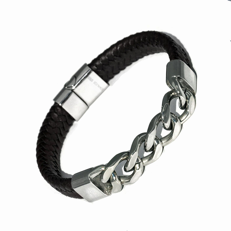 Leather chain bracelet for gents franki baker menus stainless steel
