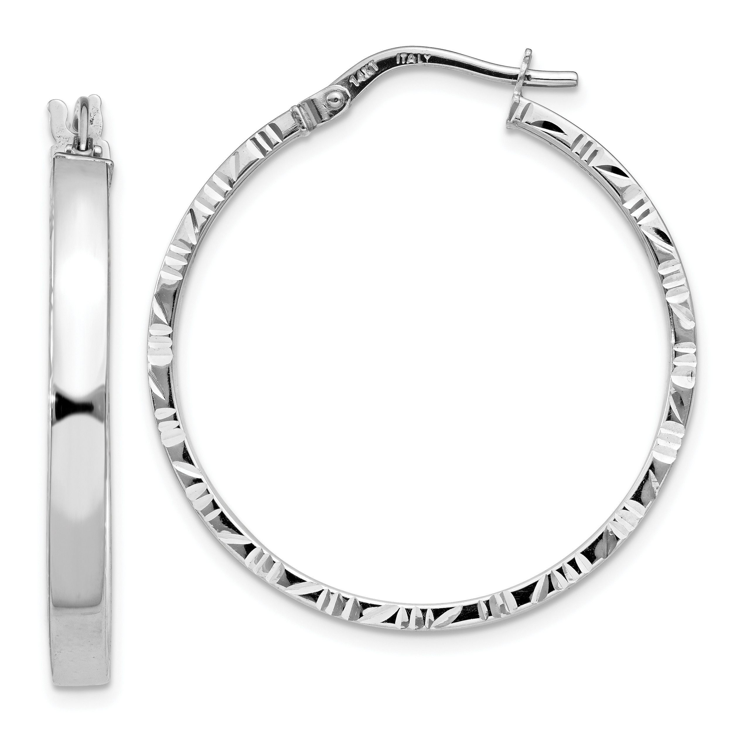 14K White Gold Diamond Cut Edge Polished Hoop Earrings TF817