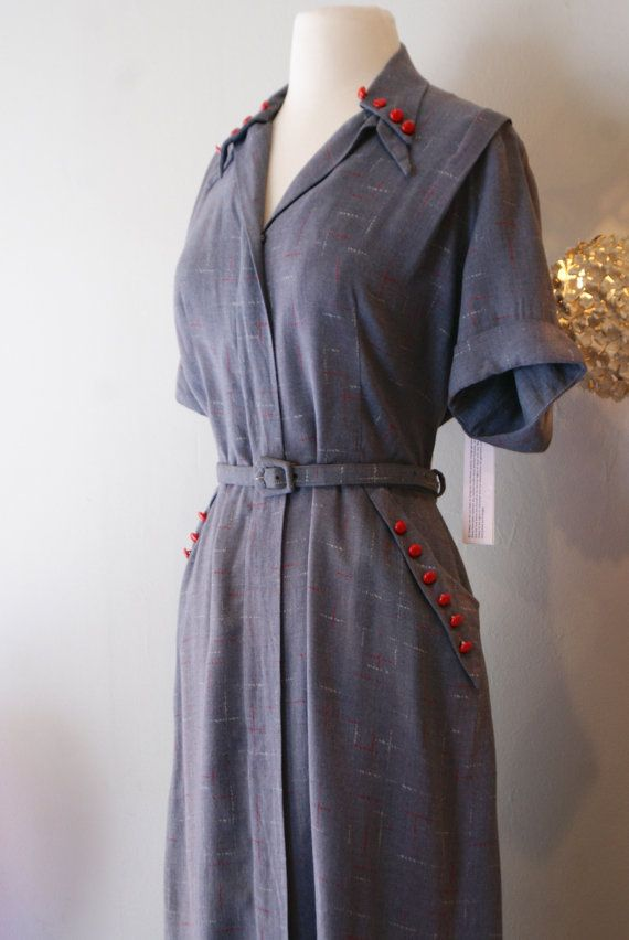 Vintage 1940\'s Dress // 40\'s Grey Atomic Flash Dress