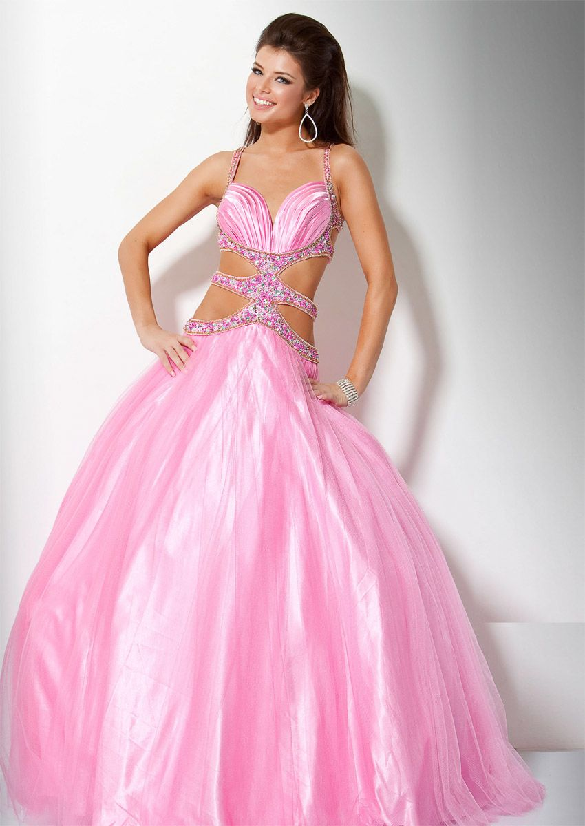Post :Pink Ball Gown Spaghetti Straps Floor Length Zipper Prom ...