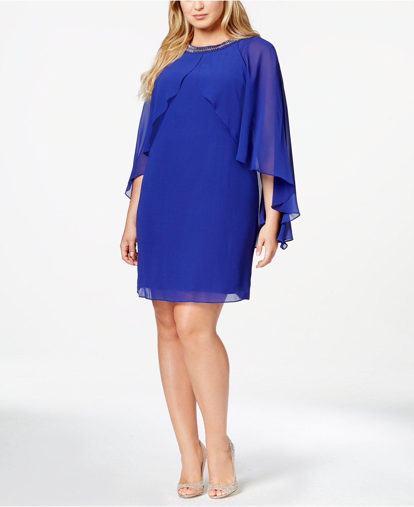 SL Fashions Plus Size Embellished Sheer Capelet Dress ...
