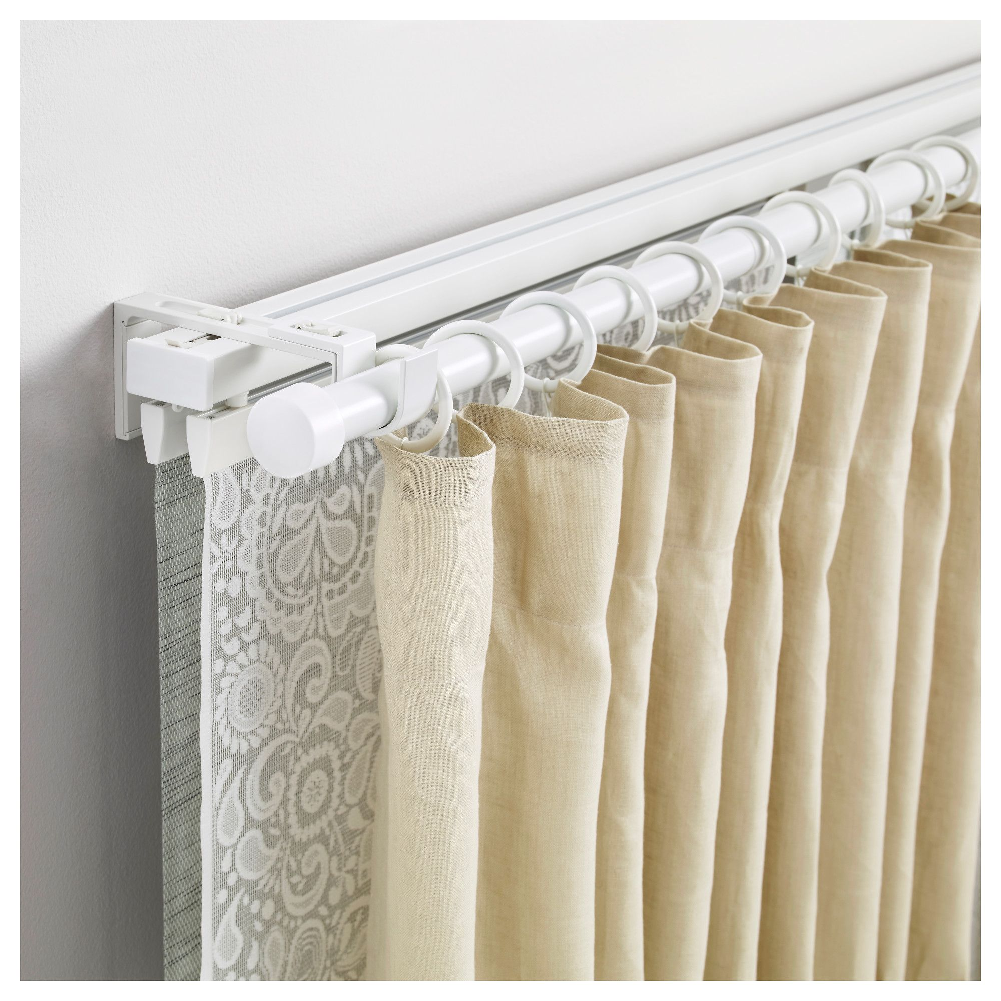 Vidga Triple Track And Rod Set White Curtains Curtain Track