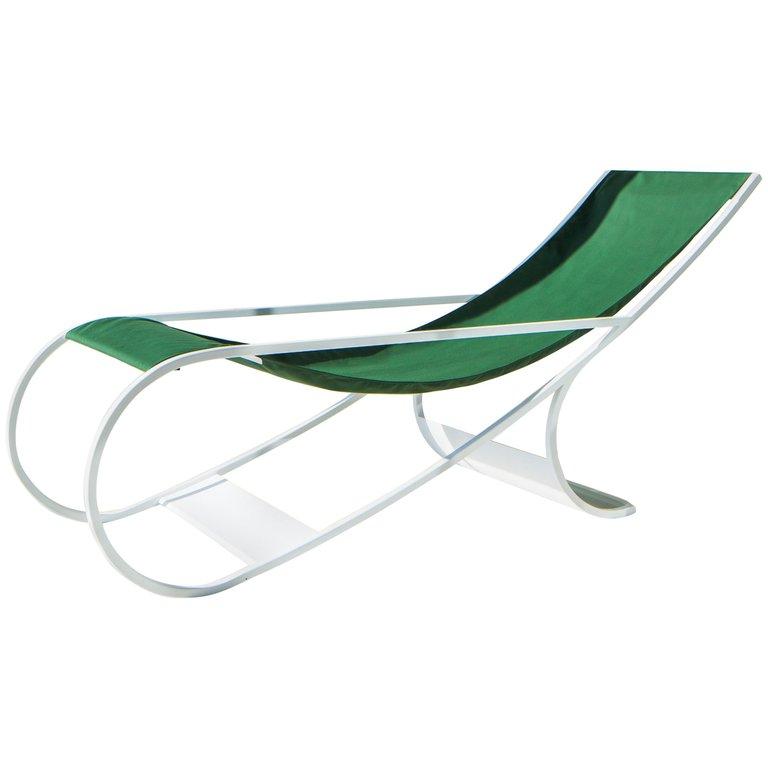 1stdibs fabric metal ft33 sun lounger modern french