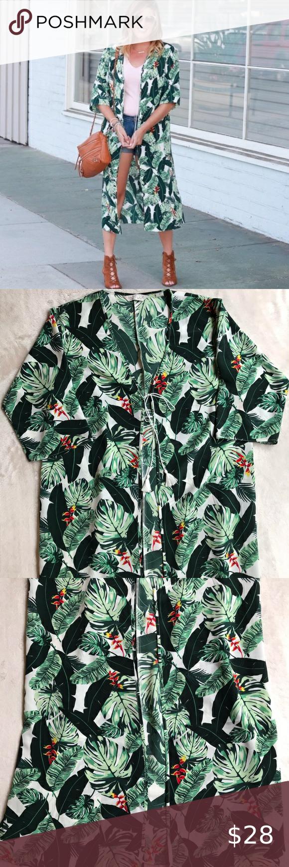 Rachel Zoe Palm Print Kimono