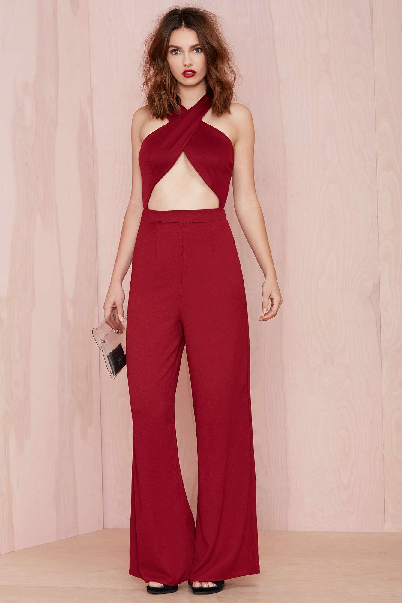 Nasty Gal Cross My Heart Jumpsuit - Burgundy | Shop You, Me and the ...