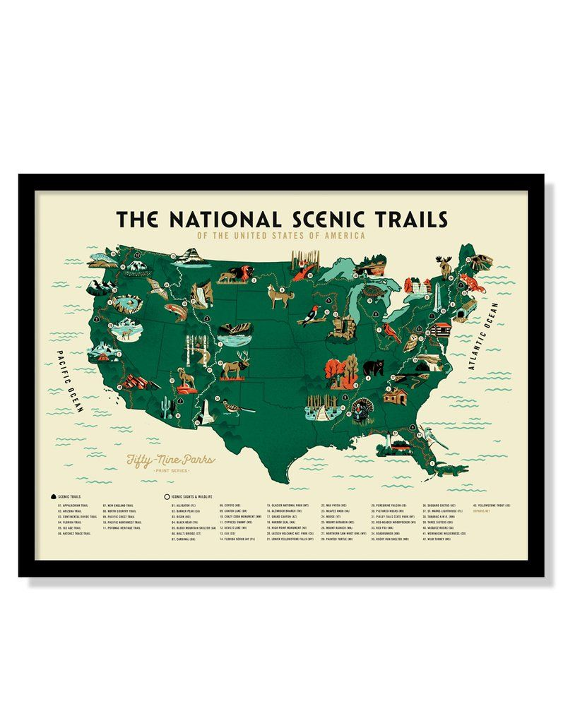 U.S. National Scenic Trails Map Poster in 2019 | Fifty-Nine Parks ...