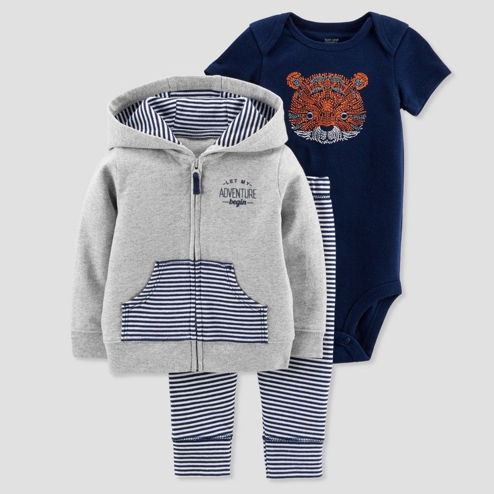 5ff244113557 Baby Boys  3pc Tiger Cardigan Set - Just One You made by carter s Orange  18M