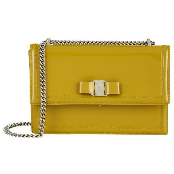 Salvatore Ferragamo Medium Ginny Shoulder Bag ($1,065) ❤ liked on Polyvore featuring bags, handbags, shoulder bags, chain shoulder bag, salvatore ferragamo purse, bow purse, yellow handbags and patent leather purse