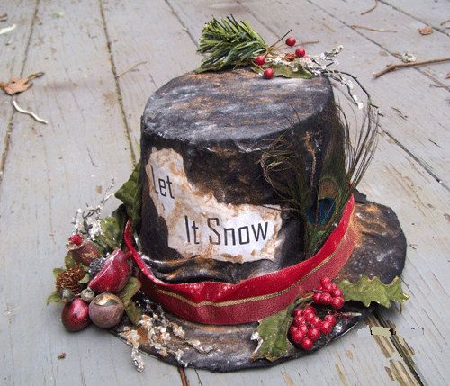 SNOWMAN HAT Holiday Decor Primitive Christmas Winter by Oddsurd ...
