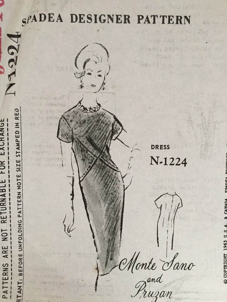 Vintage Monte Sano & Pruzan Spadea Sewing Pattern Dress N-1224 FF ...