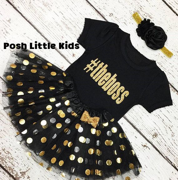dc63fba2f986 Black and gold birthday girl outfit,#The boss Baby girl outfit,First  birthday set,Black and gold pol