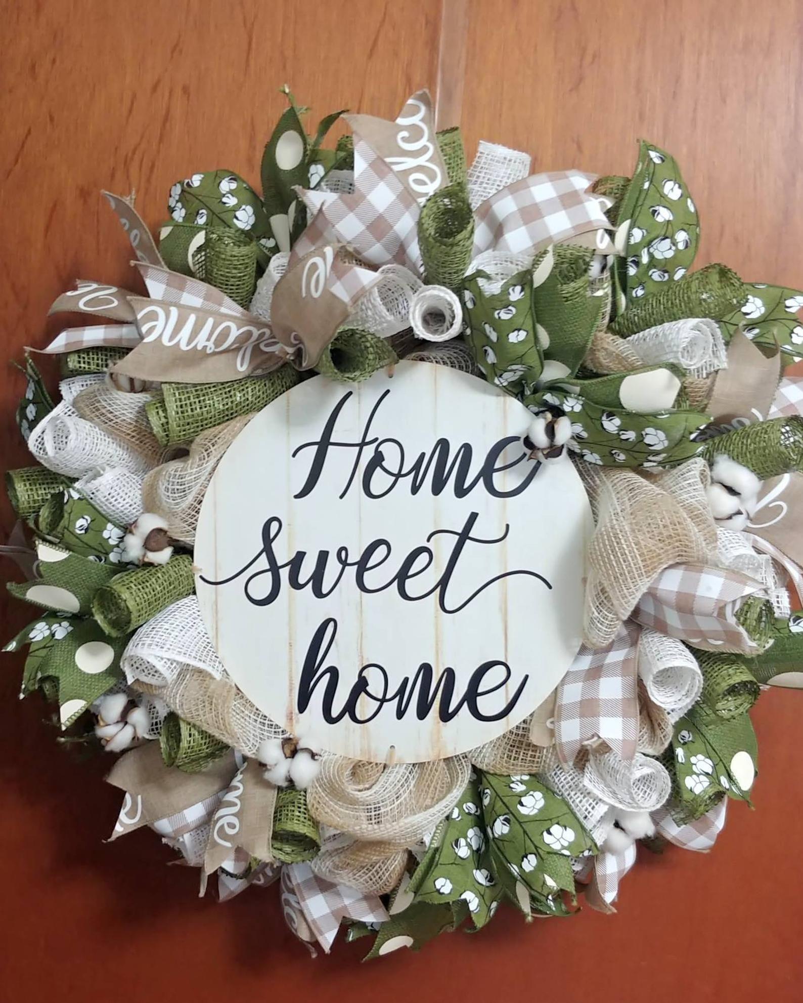 Photo of Home Sweet Home Wreath, Cotton Ball Wreath, , All Season Home Burlap Wreath, Cotton Ball Wreath & Wall Decor, Olive Green,  Cream, Tan Mesh