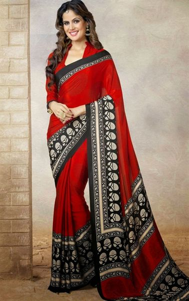 Picture of Ravishing Red and Black Color Casual Saree