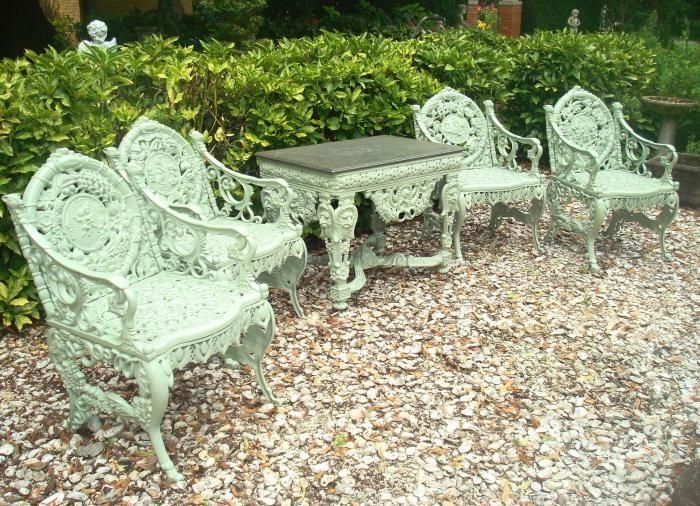 Cast Iron Patio Furniture Vintage Part - 18: SET OF FOUR SEASONS GARDEN FURNITURE, CAST IRON