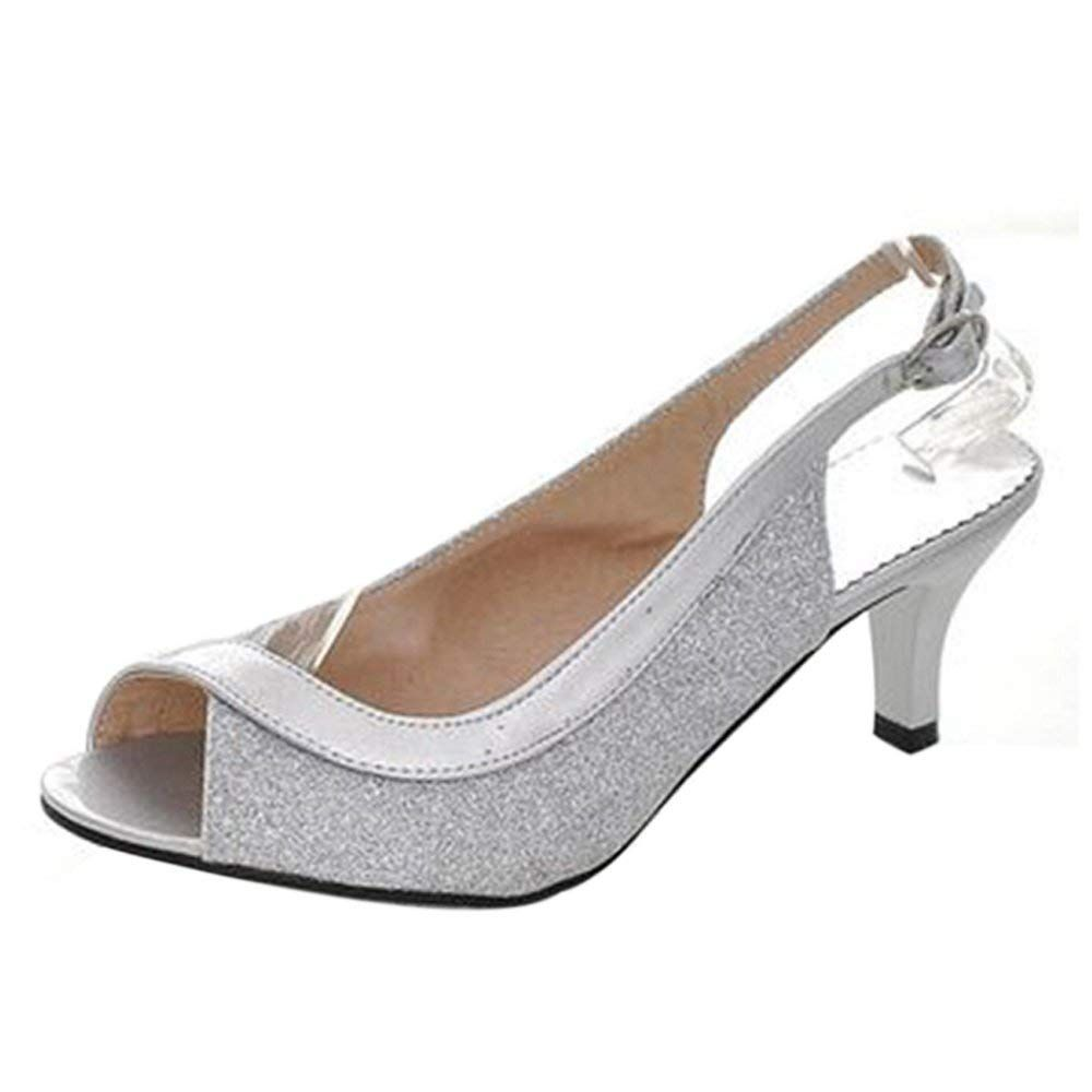 Taoffen Women Fashion Kitten Heel Party Glitter Sandals Mid Heel Peep Toe Slingback Shoes We Do Hope That Peep Toe Wedding Shoes Silver Wedding Shoes Heels