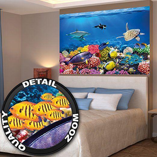 Kinderzimmer Aquarium Wandbild Dekoration Unterwasserwelt