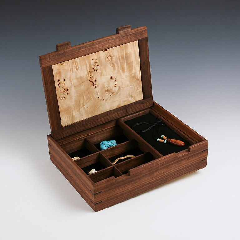 Stunning Black Walnut and Mappa Burl jewelry box with Ebony corner