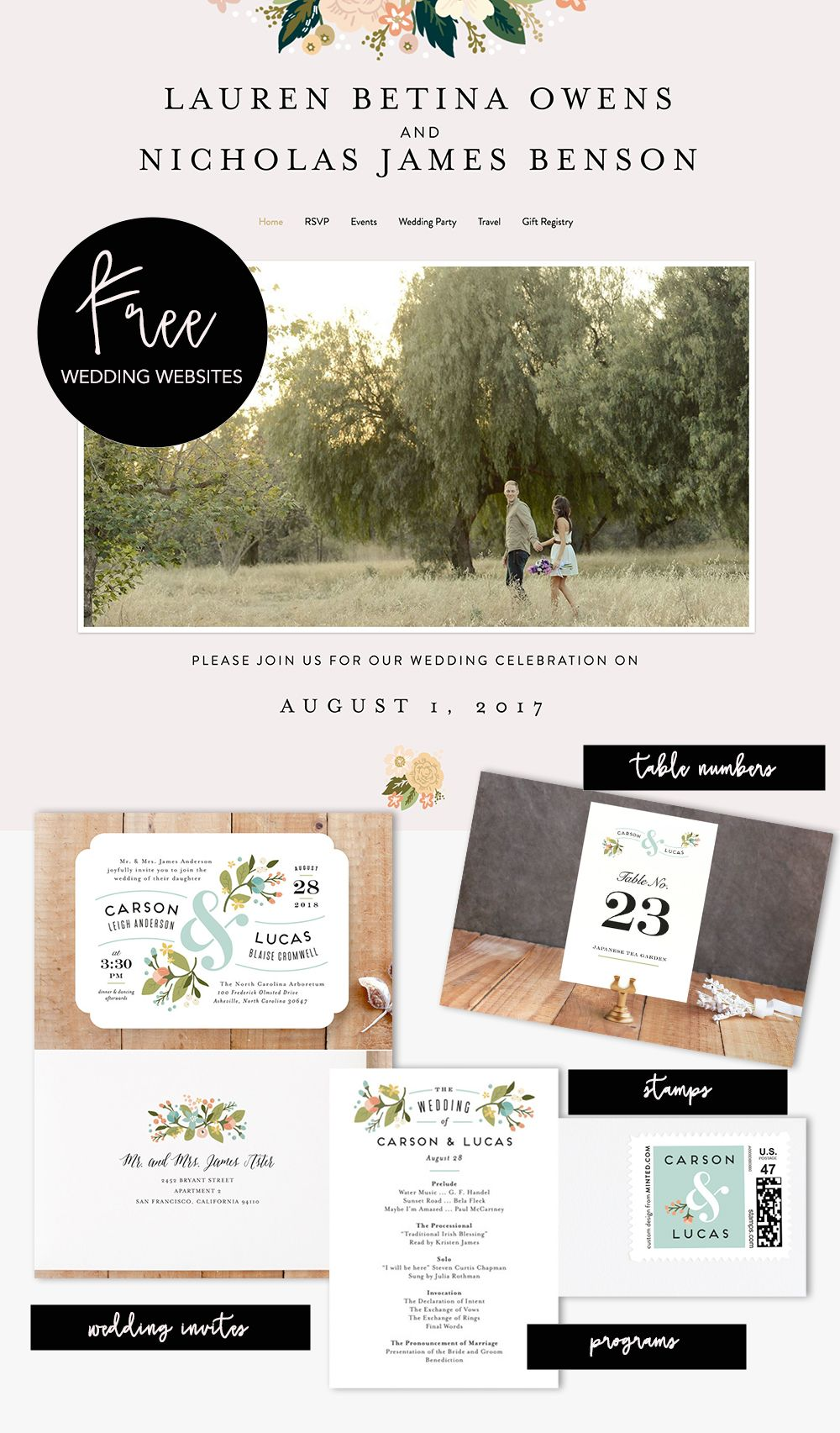 minted FREE wedding websites will match all of your day of ...