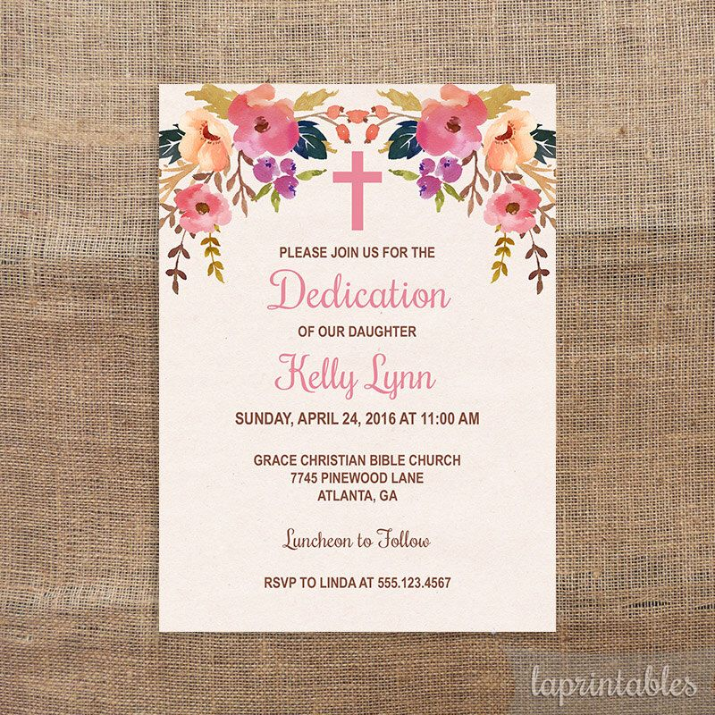 Baby Dedication Invitation Baptism Invite Christening Watercolor Fl Diy
