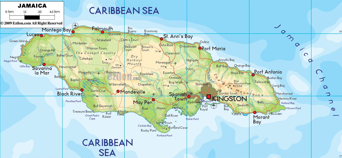 large_detailed_physical_and_road_map_of_jamaica_with_cities ...