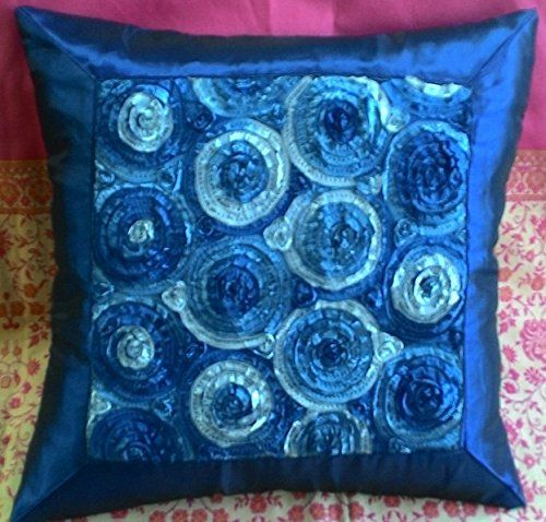 Beautiful Two Tone 3d Roses Throw Cushion Cover/pillow Sham Handmade By Satin and Thai Silk for Decorative Sofa, Car and Living Room Size 16 X 16 Inches (Dark Blue): Amazon.ca: Home & Kitchen