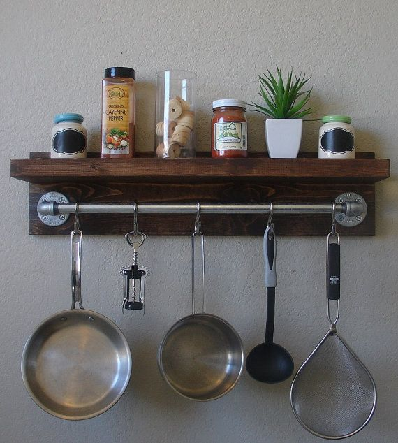 "Modern Rustic Spice Rack Shelf With 23"" Pot Rack Bar & 5"