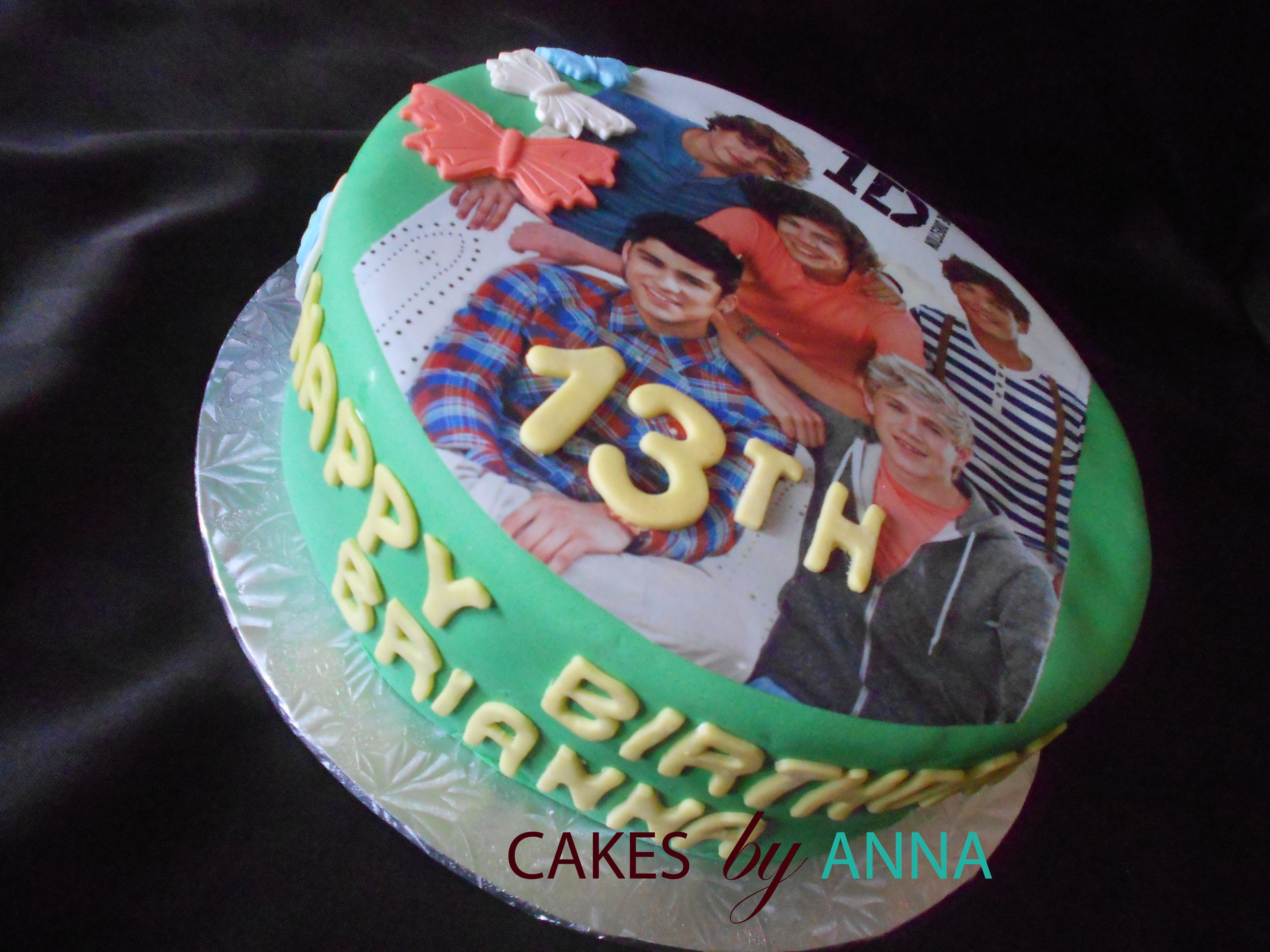 One Direction Birthday Cake made with Red Velvet and Cream Cheese