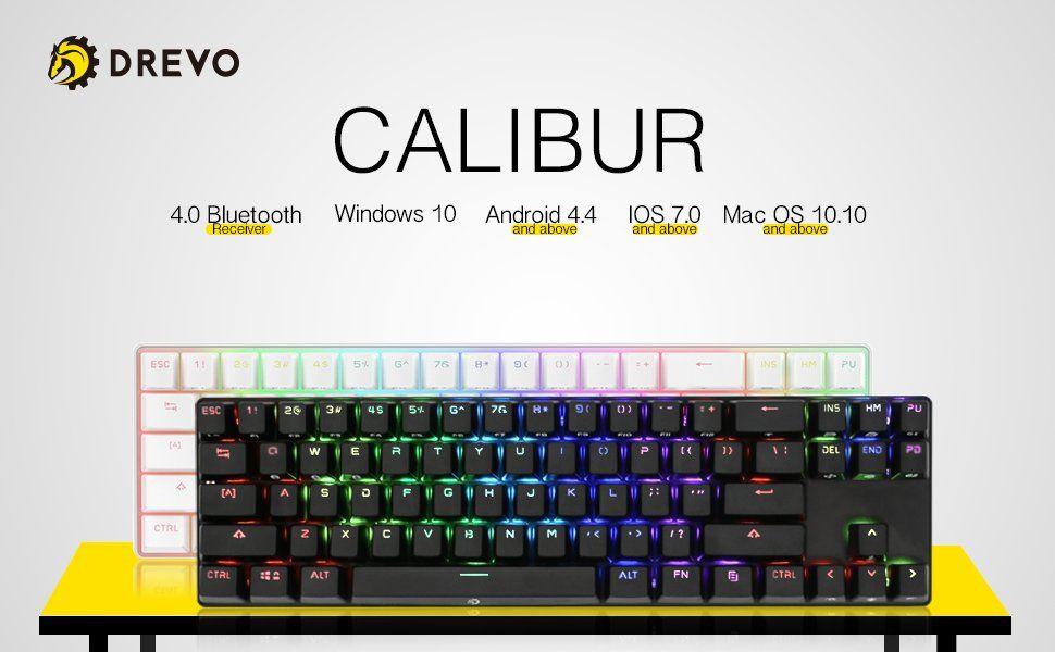79710c0f86b Amazon.com: DREVO Calibur 71-Key RGB LED Backlit Wireless Bluetooth 4.0 /  USB Wired Gaming Mechanical Keyboard Red Switch-Black: Computers &  Accessories