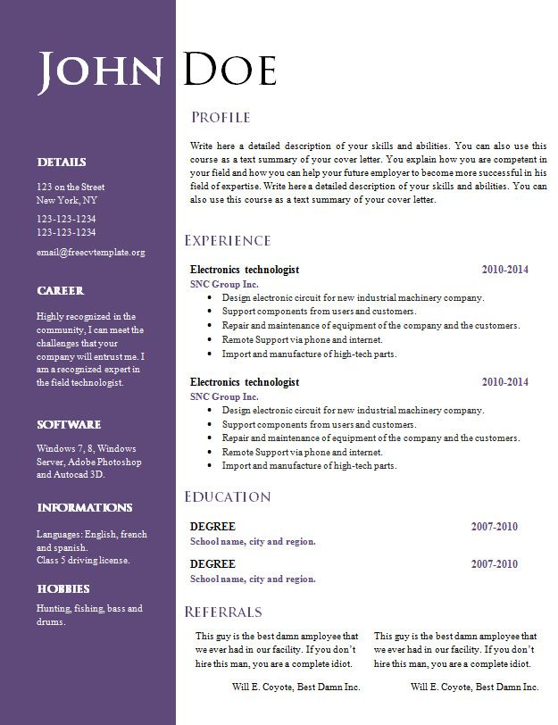 Free creative resume cv template 547 to 553 freecvtemplateorg - microsoft word 2010 resume templates