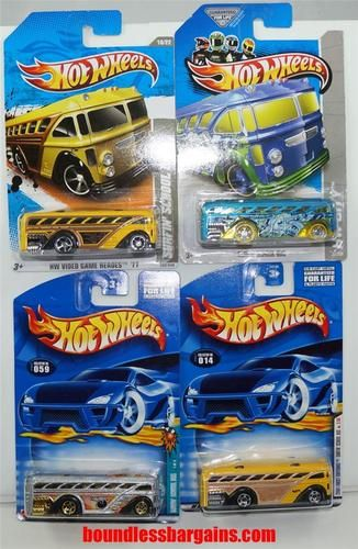HOT WHEELS LOT OF 4 SURFIN' SCHOOL BUSES HARD TO FIND COLLECTIBLES 2001, 2002,2011 & 2013 1) 2001 FIRST EDITIONS #2/36 COLLECTOR #014 2) 2002 STRIKES AND SPARES #1/4 COLLECTOR #059 3) 2011 HW VIDEO GAME HEROES #10/22 COLLECTOR #232 4) 2013 HW CITY #31/250 THESE VEHICLES ARE IN THEIR ORIGINAL PACKAGING AND AS YOU CAN SEE BY THE PHOTOS ARE IN GREAT CONDITION, $15.88