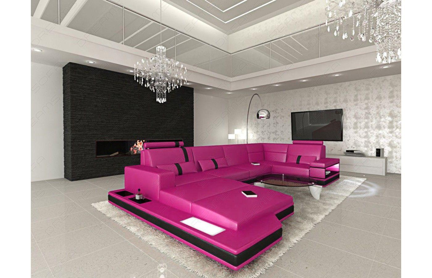 Exklusive Sofas leder wohnlandschaft messana in pink schwarz exklusiv bei sofa