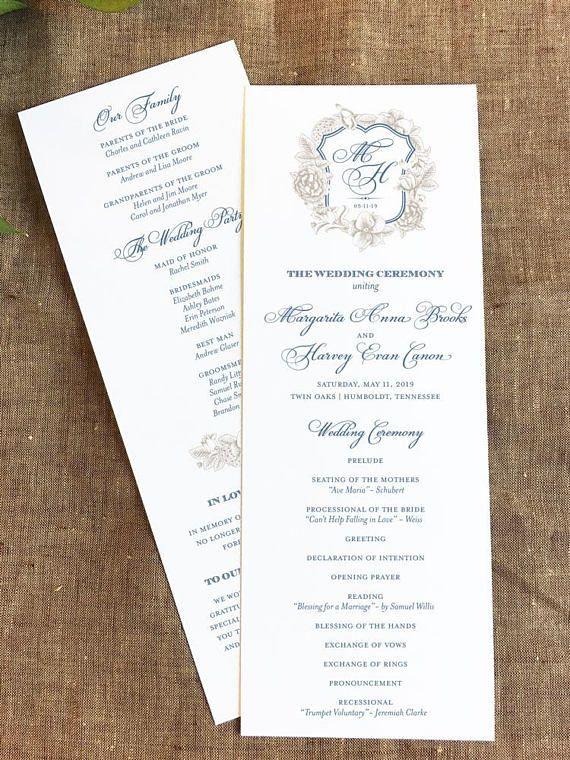 floral monogram crest wedding program monogram wedding classic