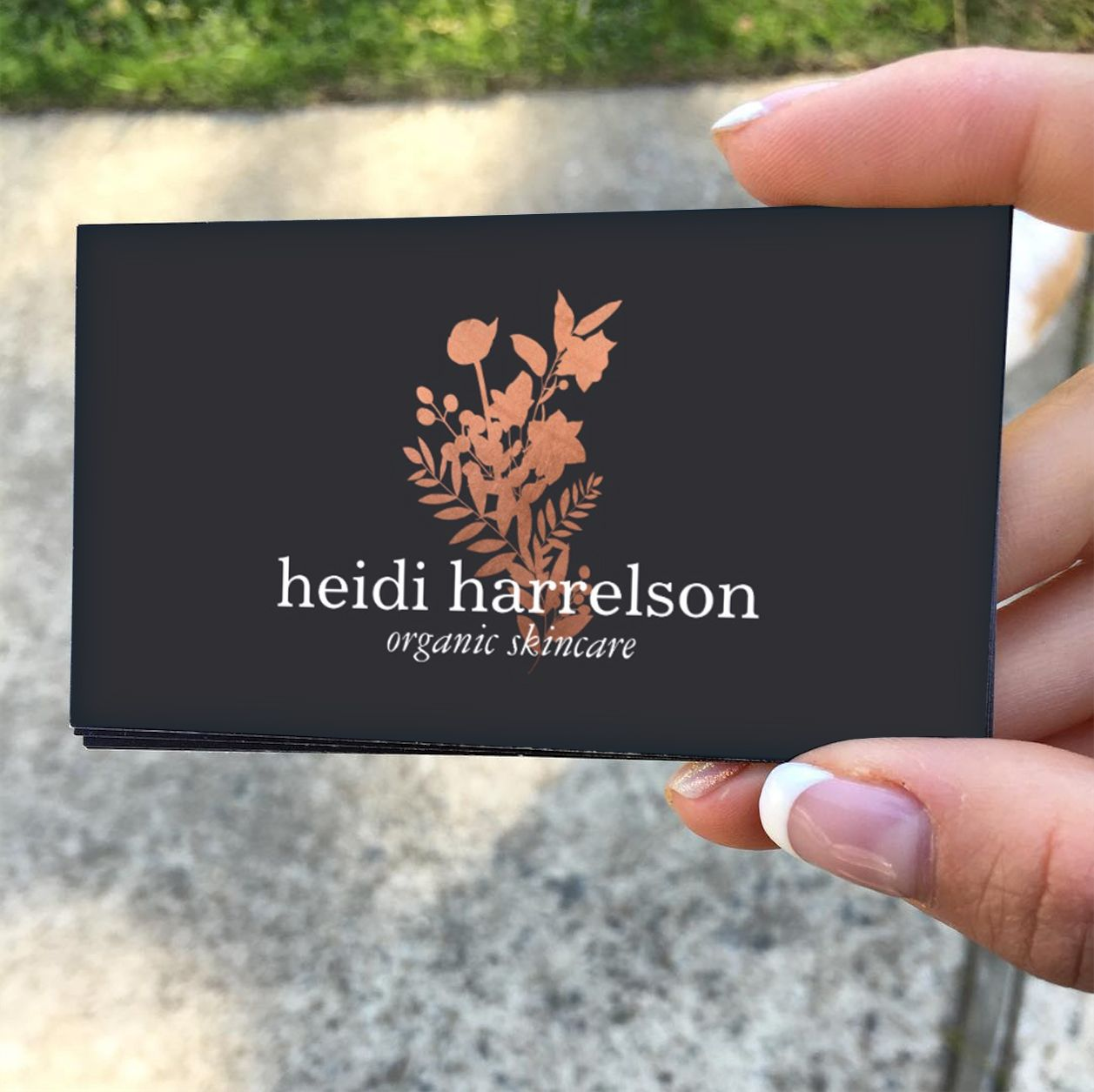 Rose Gold Floral Logo on Dark Gray Business Card - Customize for ...