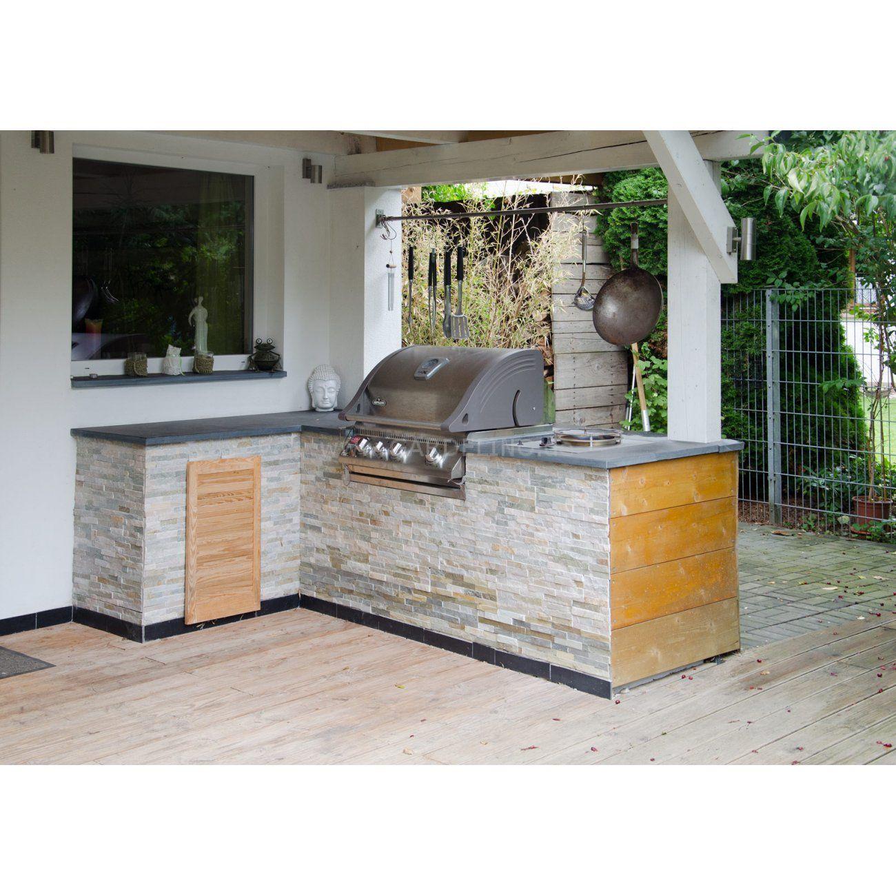 Stein Outdoorkuche In L Form Mit Wok Grill Und Napoleon Grill Stone Outdoor Kitchen With Wok Grill And Napoleon Gas Gri Aussenkuche Grillstein Outdoor Kuche