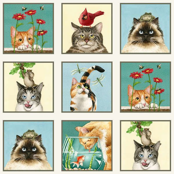 Elizabeth's Studio Curious Cats by Tracy Lizotte 4322E CRM Cream Cat Blocks $9.50/yd PREORDER DUE MAY/JUNE '15
