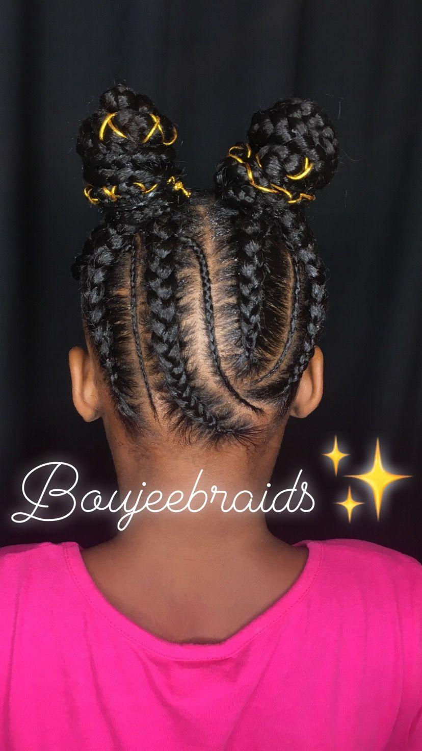Kids braided styles, two buns, feedin cornrows. Black girl ...