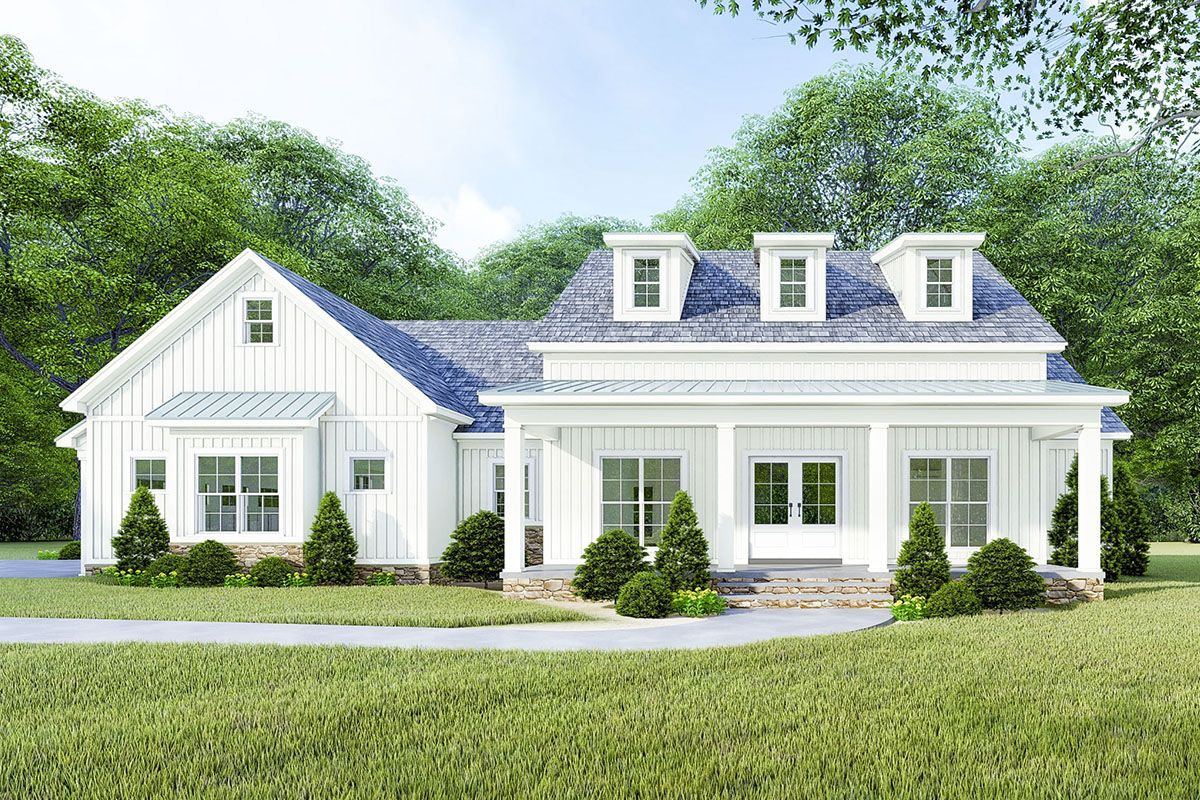 Plan 70628mk Modern Farmhouse Plan With Vaulted And Beamed Great Room Modern Farmhouse Plans Country Style House Plans Farmhouse Plans