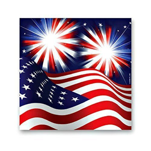 Stars Stripes Fireworks Patriotic Beverage Napkin 4th of July Party Supply 16 ct #Aziom