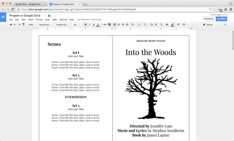 How To Create A Show Program In Google Drive Google Docs Book Template Brochure Template