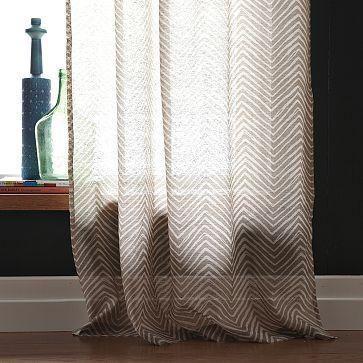 Chevron Printed Window Panel West Elm Chevron Curtains Home Decor Interior