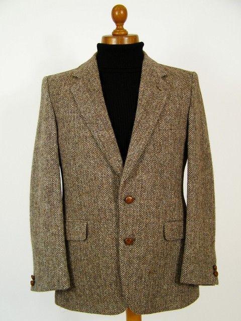 British tailored woollen Harris Tweed jacket. Warm and